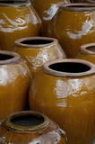 Pottery 7. A large display of colorful pottery royalty free stock images