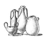 Pottery of ancient Greece. Greek clay pots or vases in vintage antique style. Hand drawn engraved vintage sketch for. Poster, banner or website stock illustration