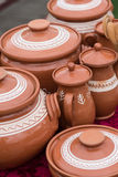 Pottery. Art - colored bowls hand made Royalty Free Stock Photos