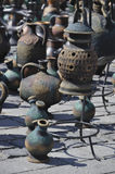 Pottery. Artistic handmade pottery on sale on a market in Sibiu, Romania Royalty Free Stock Photo