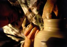 Pottery artistic hands. Close up of pottery artistic hands Stock Image