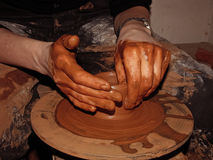 Pottery artistic hands Royalty Free Stock Image