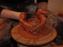 Pottery artistic hands Stock Images