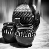 Pottery. Artistic look in black and white. Stock Photo