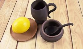 Pottery. Beautiful pottery on wooden background Royalty Free Stock Images
