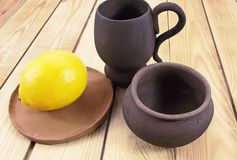 Pottery. Beautiful pottery on wooden background Royalty Free Stock Image