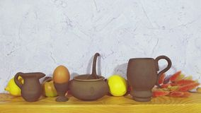 Pottery. Beautiful pottery on wooden background Stock Photos