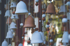 Pottery bells. Close up of pottery bells in the store Royalty Free Stock Photography