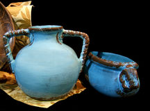 POTTERY BLUES. POTTERY STILL LIFE Royalty Free Stock Images