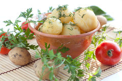 Pottery bowl with boiled potatoes Royalty Free Stock Photography