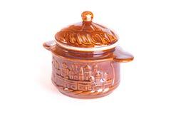 Pottery cassolette. On white background Stock Photo