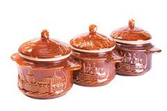 Pottery cassolettes. On white background Stock Photo