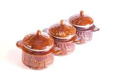 Pottery cassolettes. On white background Stock Image