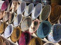 Pottery and ceramics. Market stall in Tunisia with traditional pottery and ceramics Stock Photography