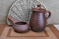 Pottery Clay Jug And Ladle Stock Photography