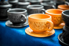 Pottery coffee cup Stock Photo