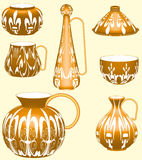 Pottery Collection. 3D. Standard clay pots, vases, jugs made out of clay and carefully colored on a light yellow background Royalty Free Stock Images