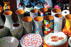 Pottery. Colored pottery on street, for sale Royalty Free Stock Images