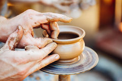 Pottery Craft Wheel Ceramic Clay Potter Human Hand. Process Of C Stock Images