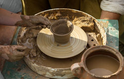 Pottery creating process Stock Photos