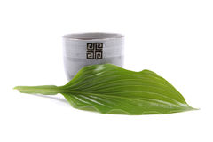 Pottery cup and green leaf Stock Photo