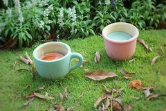 Pottery cup of tea in the garden Royalty Free Stock Photography