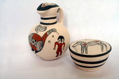 Pottery from Cyprus. Beautiful Ancient Cyprus pottery with decorative paintings Royalty Free Stock Photography