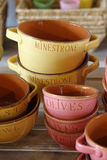 Pottery in different colors and shapes Royalty Free Stock Image