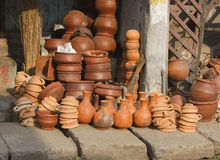 Pottery of different sizes exhibited in the street Royalty Free Stock Image