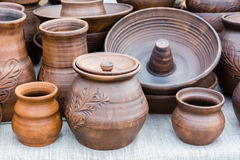 Pottery. Of different sizes next Stock Photo