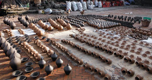 Pottery Drying in the Sun in the Ancient City of Bhaktapur Stock Images