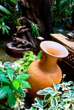 Pottery in garden Royalty Free Stock Photos
