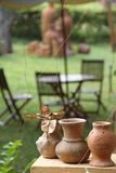 Pottery in a garden in Vietnam Stock Photo