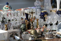 Pottery and Glassware on a Flea Market Royalty Free Stock Photography
