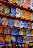 Pottery handicrafts. Bunch of colorful pottery handicrafts in the shop Royalty Free Stock Image