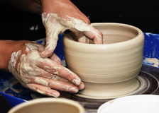 Pottery handmade. The process of creating pottery by hand Stock Photo