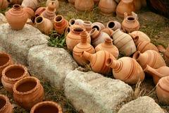 Pottery. Handmade Ceramic Clay Jugs Closeup royalty free stock images