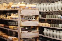 Pottery handmade on shelves. Kamenetz-Podolsk. UKRAINE. March 29 2018 Pottery handmade on shelves Stock Image