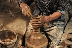 Pottery handmade in workshop â…¥ royalty free stock image