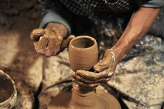 Pottery handmade in workshop Royalty Free Stock Photo
