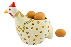Pottery hen with eggs Royalty Free Stock Image
