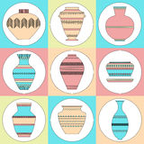Pottery icon set. Stock vector illustration of classic pot and bowl. Handmade decorated ceramic vase and jar Stock Photos