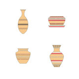 Pottery icon set. Stock vector illustration of classic pot and bowl. Handmade decorated ceramic vase and jar Stock Image