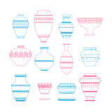 Pottery icon set. Stock vector illustration of classic pot and bowl. Handmade decorated ceramic vase and jar Stock Images
