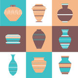 Pottery icon set. Stock vector illustration of classic pot and bowl. Handmade decorated ceramic vase and jar. Flat style Stock Images