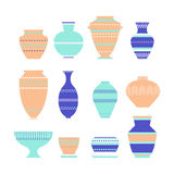 Pottery icon set. Stock vector illustration of classic pot and bowl. Handmade decorated ceramic vase and jar. Flat style Royalty Free Stock Images