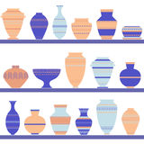 Pottery icon set. Stock vector illustration of classic pot and bowl. Handmade decorated ceramic vase and jar. Flat style Stock Photo