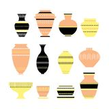 Pottery icon set. Stock vector illustration of classic pot and bowl. Handmade decorated ceramic vase and jar. Flat style Royalty Free Stock Image