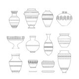 Pottery icon set. Pottery set. Stock vector illustration of classic pot and bowl. Handmade decorated ceramic vase and jar. Think line icon isolated on white Royalty Free Stock Photo