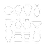 Pottery icon set. Pottery thin line icon set isolated on white background. Stock vector illustration of classic pot, vase, jar and bowl Royalty Free Stock Photo